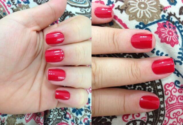 esmalte vermelho aberto