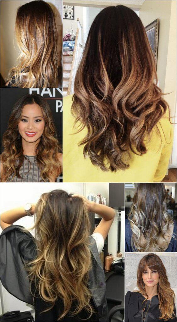 californianas em cabelos castanhos