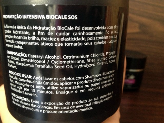 máscara hidratação intensiva sos biocale