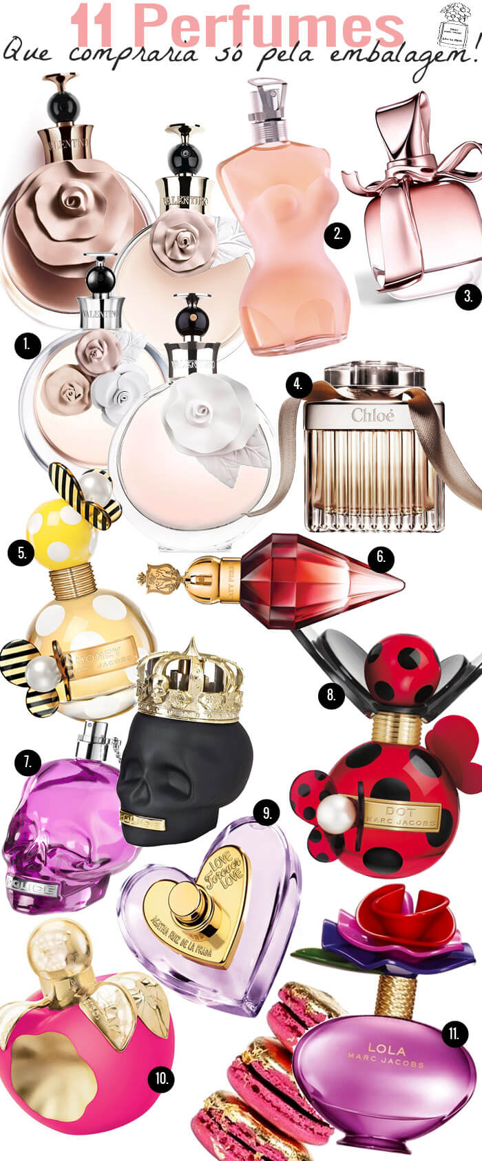 perfumes com a embalagem bonita