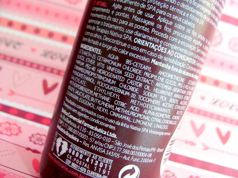 spray leave-in proteção e revitalização vinoterapia nativa spa