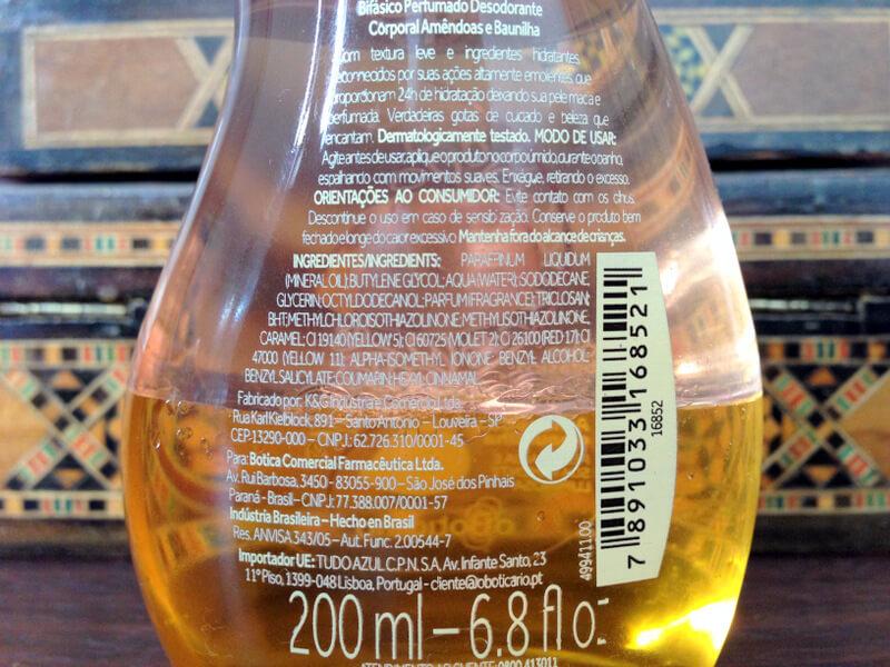 Óleo Bifásico Perfumado Amêndoas e Baunilha