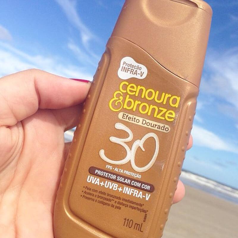 protetor solar corporal com cor cenoura & bronze