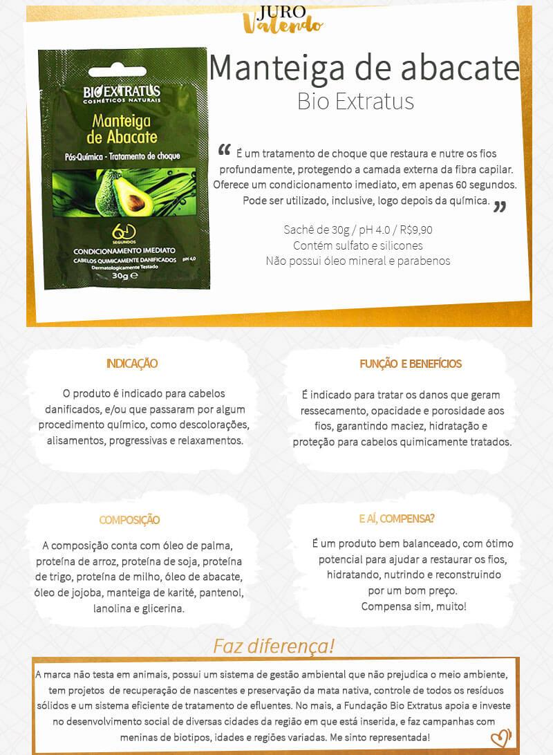manteiga de abacate bio extratus tratamento de choque pós química