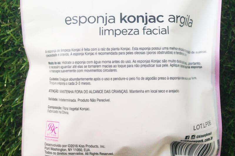 Esponja Konjac Argila Para Limpeza Facial RK By Kiss