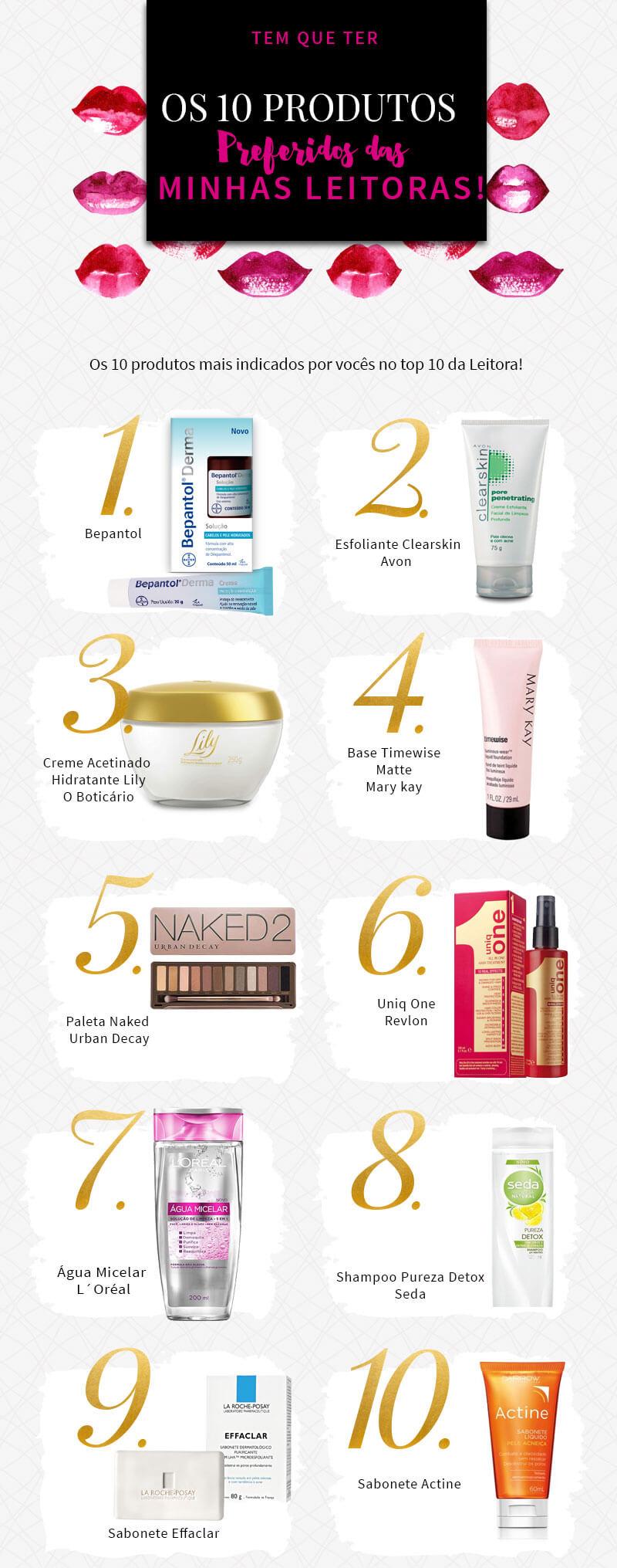 10 produtos preferidos das minhas leitoras