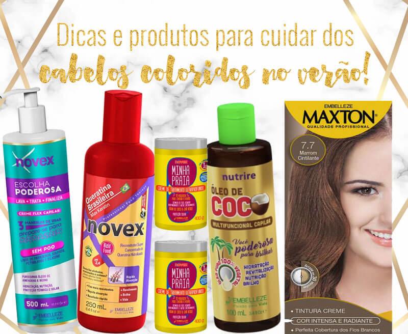 produtos para cuidar dos cabelos coloridos no verão
