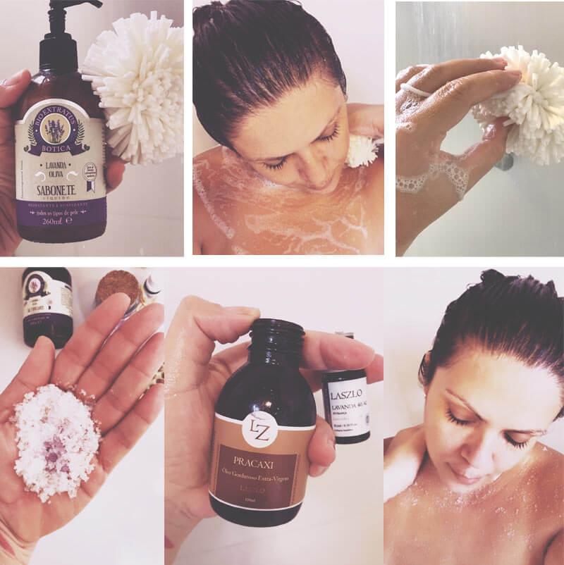 banho de relaxamento com lavanda