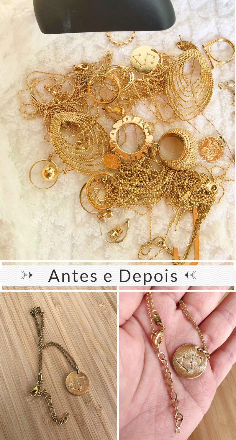 joias e semijoias escurecidas antes e depois