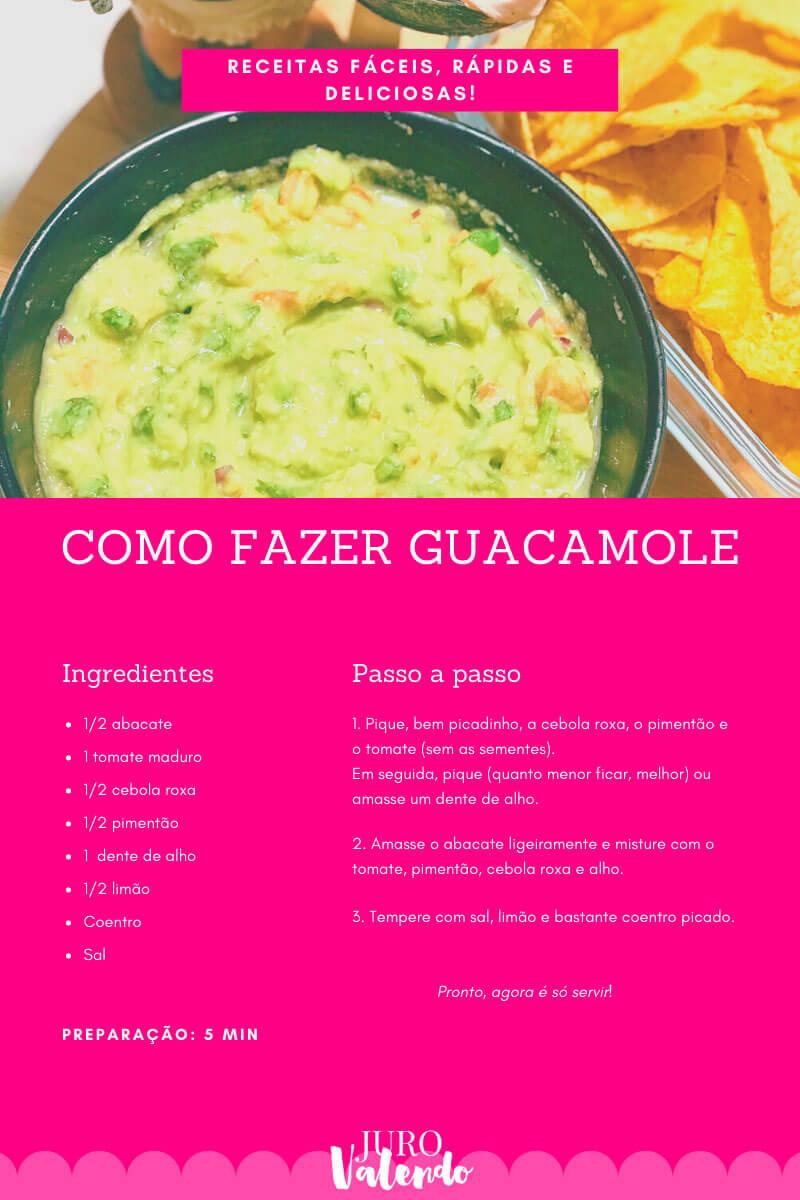 receita de guacamole fácil juro valendo